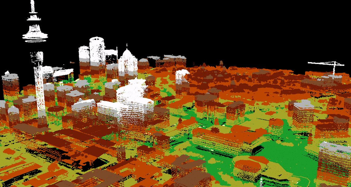 Lidar-derived view of downtown Auckland, New Zealand